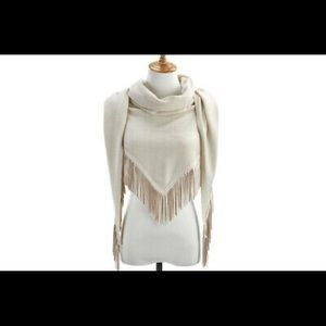 Demdaco Knit Triangle Scarf with Faux Suede Fringe